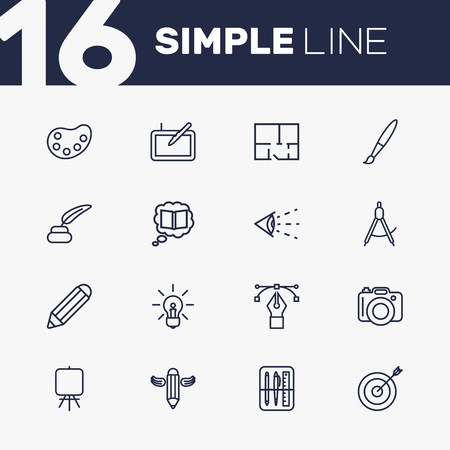Set Of 16 Constructive Outline Icons Set.Collection Of Dslr Camera, Pencil, Graphic Tablet And Other Elements.