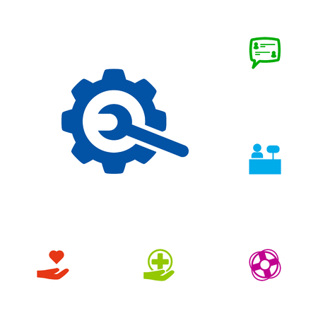 Set Of 6 Support Icons Set.Collection Of Support, Safe Ring, First-Aid And Other Elements. Çizim