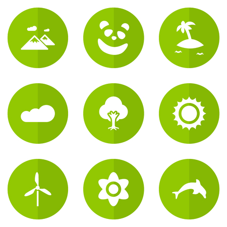 Set Of 9 Natural Icons Set.Collection Of Grampu, Wind Energy, Bloom And Other Elements.