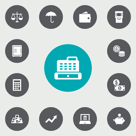 Set Of 13 Budget Icons Set.Collection Of Cashbox, Electron Report, Ingot And Other Elements. Иллюстрация