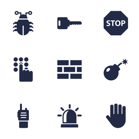 Set Of 9 Procuring Icons Set.Collection Of Alarm, Fence, Remote And Other Elements.