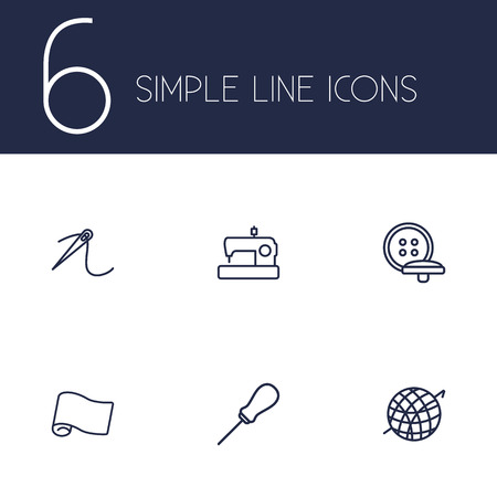 awl: Set Of 6 Stitch Outline Icons Set.Collection Of Awl, Buttons, Needle And Other Elements.