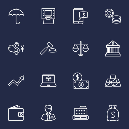 Set Of 16 Finance Outline Icons Set.Collection Of Auction, Exchange, Cash Register And Other Elements.