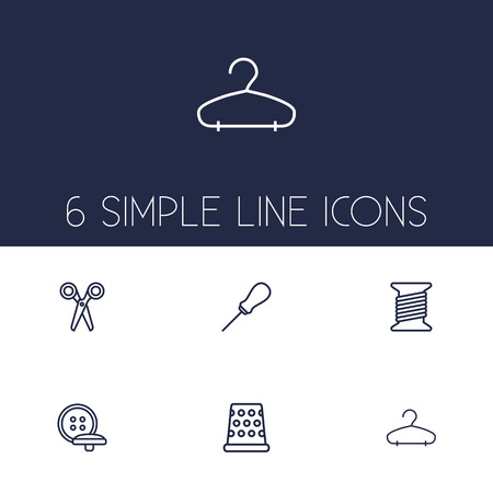 Set Of 6 Tailor Outline Icons Set.Collection Of Tremble, Awl, Hanger And Other Elements. Vectores