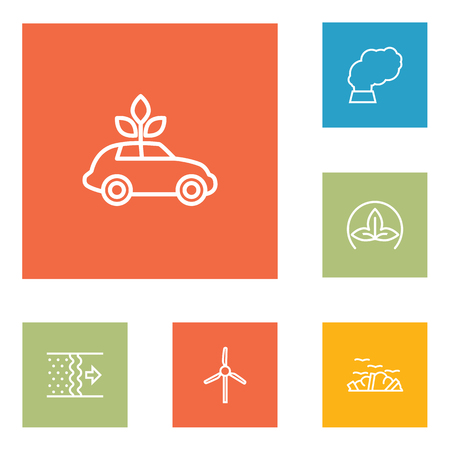 contamination: Set Of 6 Bio Outline Icons Set.Collection Of Ecol, Wind Turbine, Garbage And Other Elements. Illustration