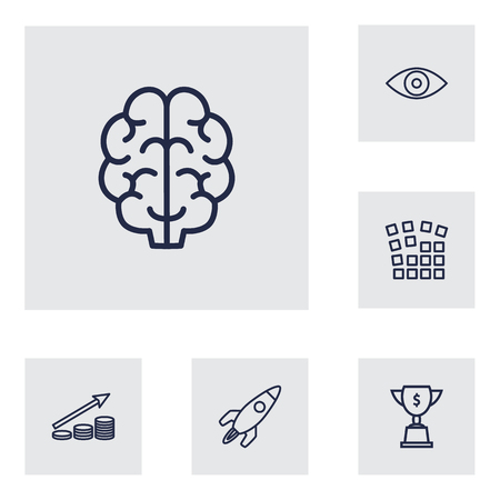 Set Of 6 Strategy Outline Icons Set.Collection Of Brain, Eye, Profit And Other Elements. Illustration