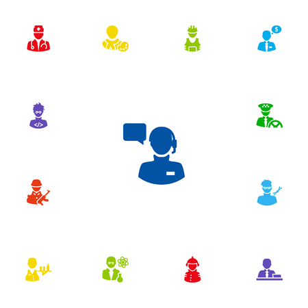 Set Of 13 Position Icons Set.Collection Of Medic, Money Agent, Scholarly And Other Elements.