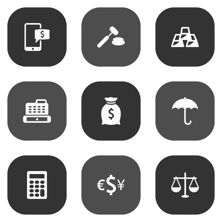 Set Of 9 Budget Icons Set.Collection Of Sack, Cashbox, Ingot And Other Elements.