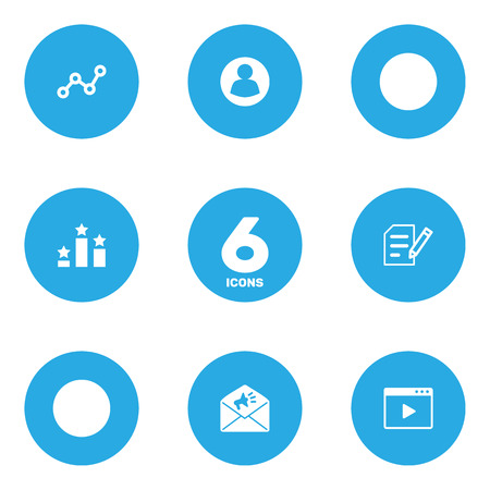 Set Of 6 Search Icons Set.Collection Of Resulting, Author Rights, Announcement And Other Elements.