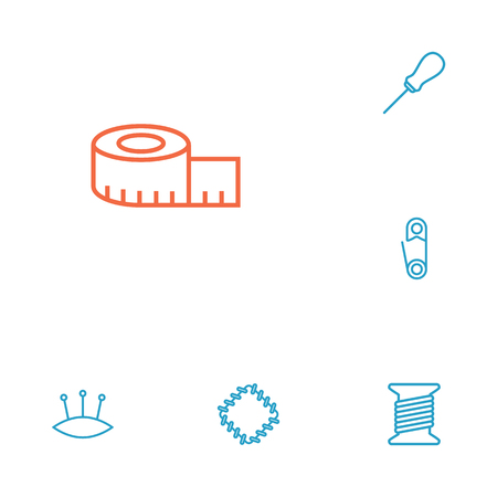 Set Of 6 Tailor Outline Icons Set.Collection Of Safety Pin, Awl, Patch And Other Elements. Vectores