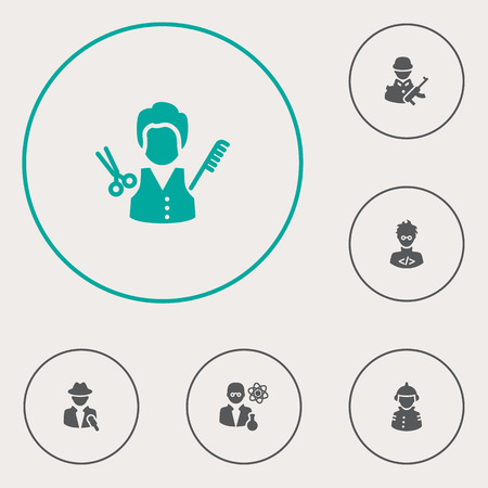 Set Of 6 Position Icons Set.Collection Of Stylist, Scholarly, Military And Other Elements.