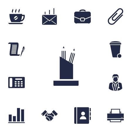 Set di 13 icone di lavoro Set.Collection of Pencil Stand, rubrica, elementi del telefono. Archivio Fotografico - 83384071