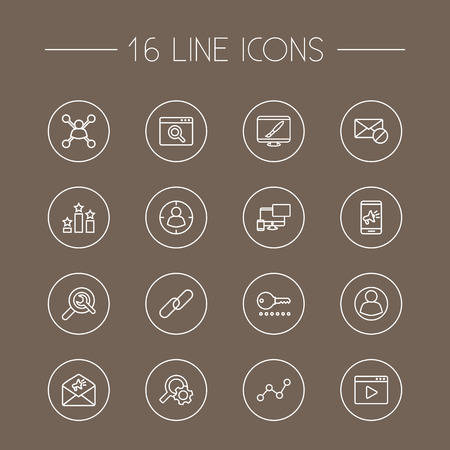 Set Of 16 Search Outline Icons Set.Collection Of Password, Advertising, SEO Test And Other Elements.
