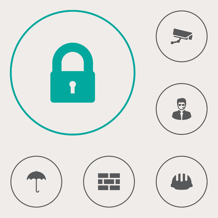aegis: Set Of 6 Security Icons Set.Collection Of Hardhat, Key, Insurance And Other Elements.