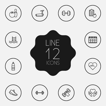 crossbar: Set Of 12 Training Outline Icons Set.Collection Of Diet, Trekking Shoes, Pool And Other Elements.