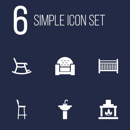 modern bathroom: Set Of 6 Decor Icons Set.Collection Of Sink, Rocking Furniture, Chimney And Other Elements. Illustration