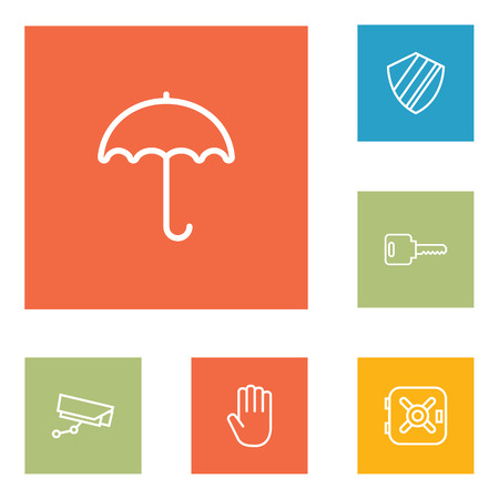 Set Of 6 Security Outline Icons Set.Collection Of Protection , Hand , Open Elements. Illustration
