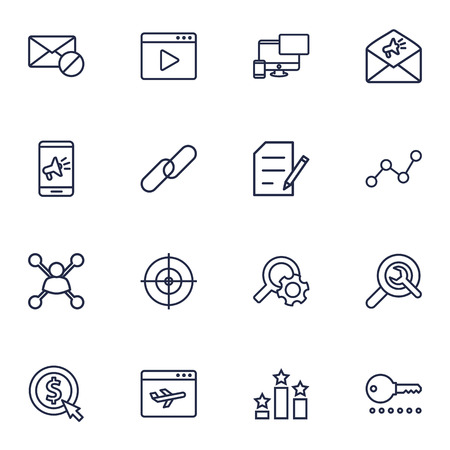 Set Of 16 Search Outline Icons Set.Collection Of Stock Exchange, Cost Per, Block And Other Elements.
