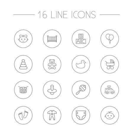 알파벳 큐브, 젖꼭지, 작업 및 다른 요소의 16 아이 윤곽선 아이콘을 설정합니다. 컬렉션입니다.