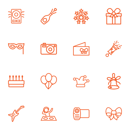Set Of 16 Cheerful Outline Icons Set.Collection Of Video, Stars, Alcohol And Other Elements. Illustration