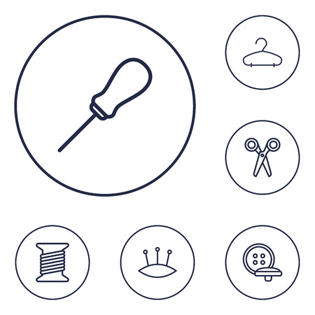 Set Of 6 Stitch Outline Icons Set.Collection Of Bobbin, Pincushion, Hanger And Other Elements.