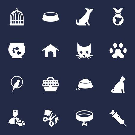Set Of 16 Mammal Icons Set.Collection Of Birdcage, Scissor, Sitting And Other Elements.