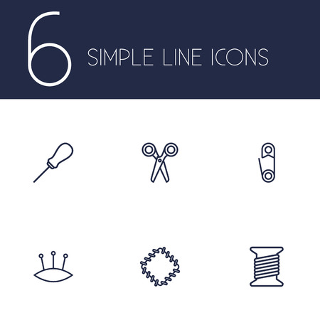 Set Of 6 Stitch Outline Icons Set.Collection Of Scissors, Bobbin, Pincushion And Other Elements.