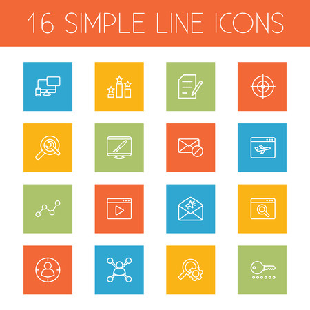 Set Of 16 Optimization Outline Icons Set.Collection Of Block, Targeting, Application Analytics And Other Elements.