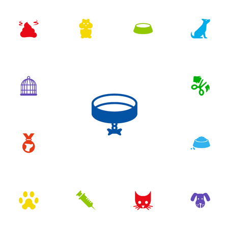 Set Of 13 Animals Icons Set.Collection Of Head, Cat, Dish And Other Elements.