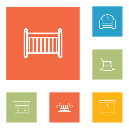 joinery: Set Of 6 Decor Outline Icons Set.Collection Of Armchair, Moving Chair, Drawer Unit And Other Elements.