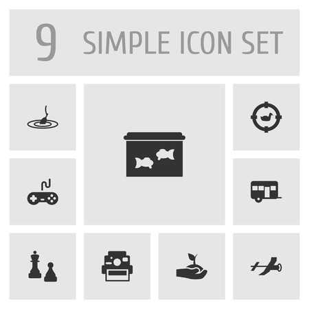 aquarium hobby: Set Of 9 Lifestyle Icons Set.Collection Of Target, Photo Camera, Rod And Other Elements.