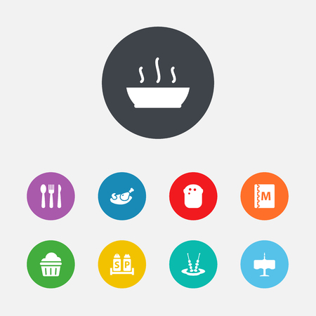 Set Of 9 Bar Icons Set.Collection Of Book, Sweet, Grill And Other Elements.