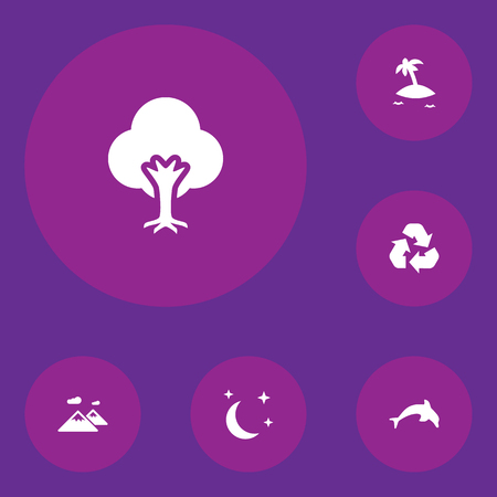 Set Of 6 Nature Icons Set.Collection Of Conservation, Isle Beach, Pinnacle And Other Elements. Illustration