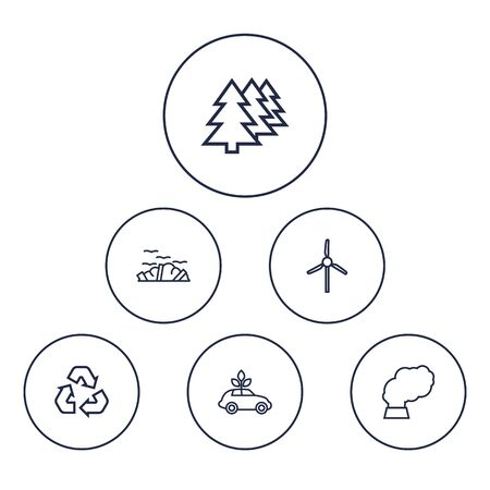 Set Of 6 Bio Outline Icons Set.Collection Of Afforestation, Wind Turbine, Garbage And Other Elements. Ilustrace