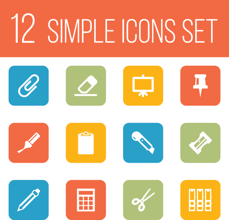 small tools: Set Of 12 Instruments Icons Set.Collection Of Rubber, Supplies, Pushpin And Other Elements.