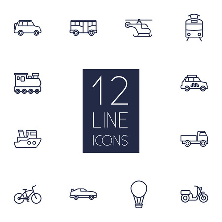 tramcar: Set Of 12 Traffic Outline Icons Set.Collection Of Suv, Helicopter, Tram And Other Elements.