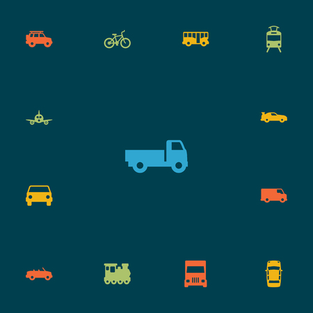 Set Of 13 Shipping Icons Set.Collection Of Cabriolet, Lorry, Coupe And Other Elements. Illustration