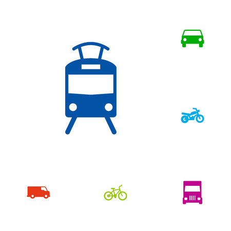 moving truck: Set Of 6 Traffic Icons Set.Collection Of Caravan, Car, Motorbike And Other Elements.