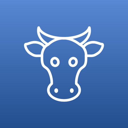 Vector Cow Element In Trendy Style.  Isolated Kine Outline Symbol On Clean Background.