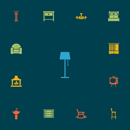 Collection Of Illuminator, Sofa, Commode And Other Elements.  Set Of 13 Situation Icons Set.