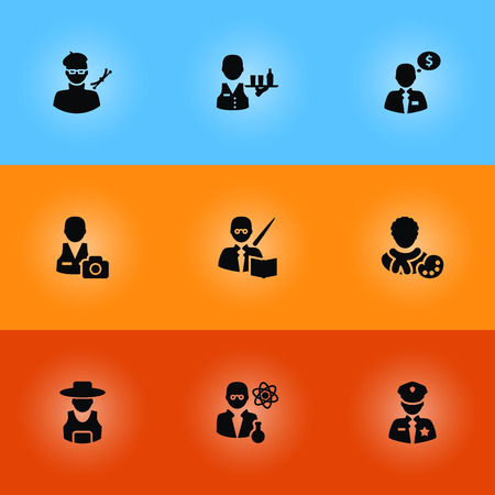 Collection Of Cameraman, Planner, Scholarly And Other Elements.  Set Of 9 Professions Icons Set. Illustration