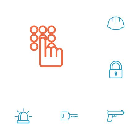 Set of 6 security outline icons set.