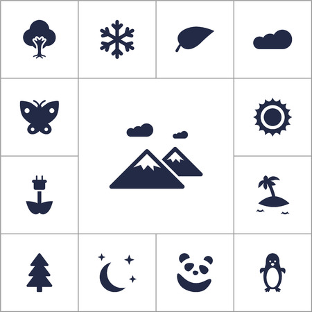 antarctic: Set Of 13 Natural Icons Set.Collection Of Foliage, Green Power, Tree And Other Elements.