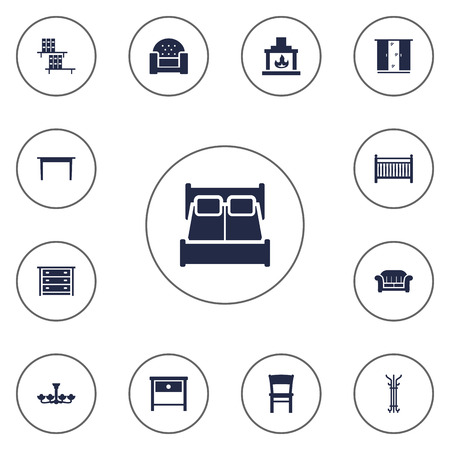 Set Of 13 Decor Icons Set.Collection Of Sofa, Bedside Table, Commode And Other Elements.