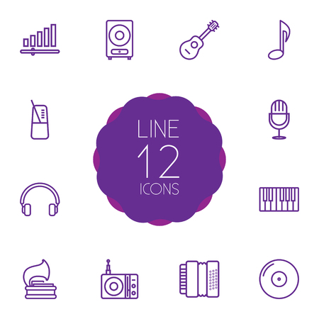 Collection Of Audio Level, Pace, Vinyl And Other Elements.  Set Of 12 Melody Outline Icons Set.