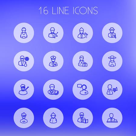 vocalist: Set Of 16 Job Outline Icons Set.Collection Of Singer, Manager, Designer And Other Elements. Illustration
