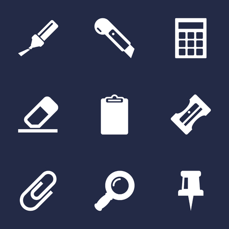appendix: Collection Of Calculate, Knife, Highlighter And Other Elements.  Set Of 9 Tools Icons Set.