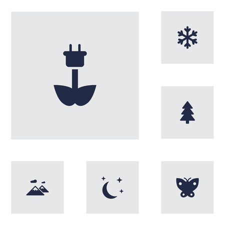 free range: Collection Of Pinnacle, Moth, Winter Snow And Other Elements.  Set Of 6 Ecology Icons Set. Illustration