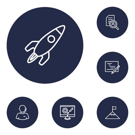 hotline: Collection Of Development, Planning, Support And Other Elements.  Set Of 6 Business Outline Icons Set.