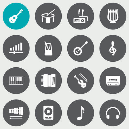 drumming: Collection Of Harmonica, Quaver, Earphones And Other Elements.  Set Of 16 Music Icons Set.